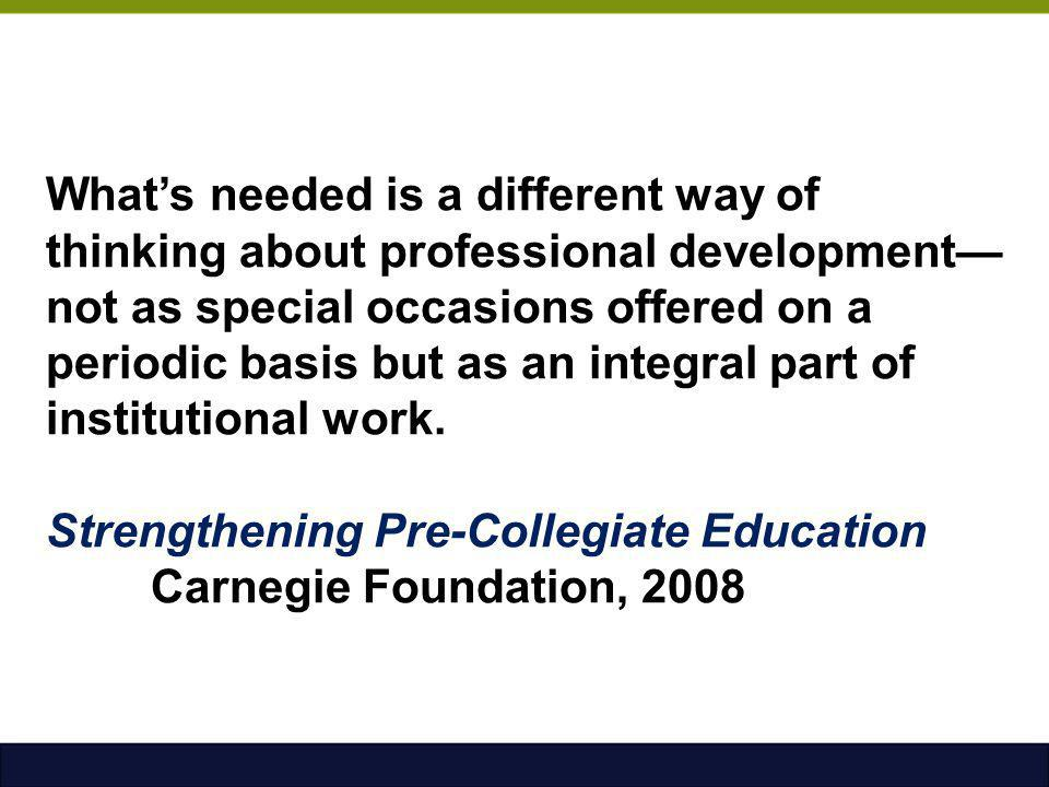 What's needed is a different way of thinking about professional development—not as special occasions offered on a periodic basis but as an integral part of institutional work.
