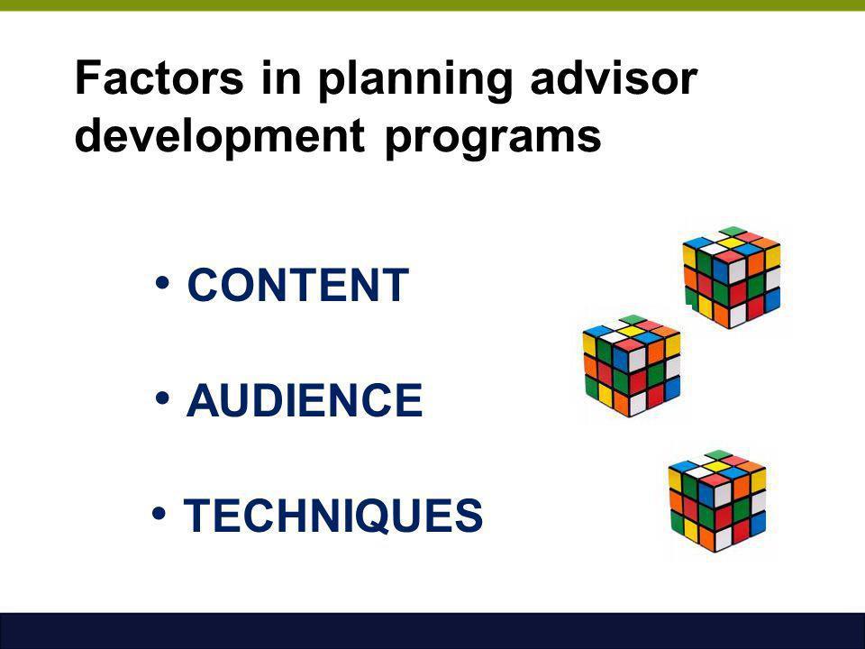 Factors in planning advisor development programs