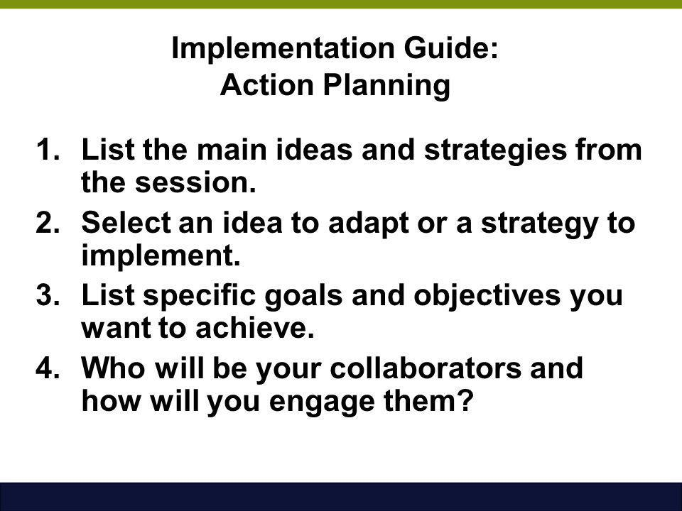 Implementation Guide: Action Planning