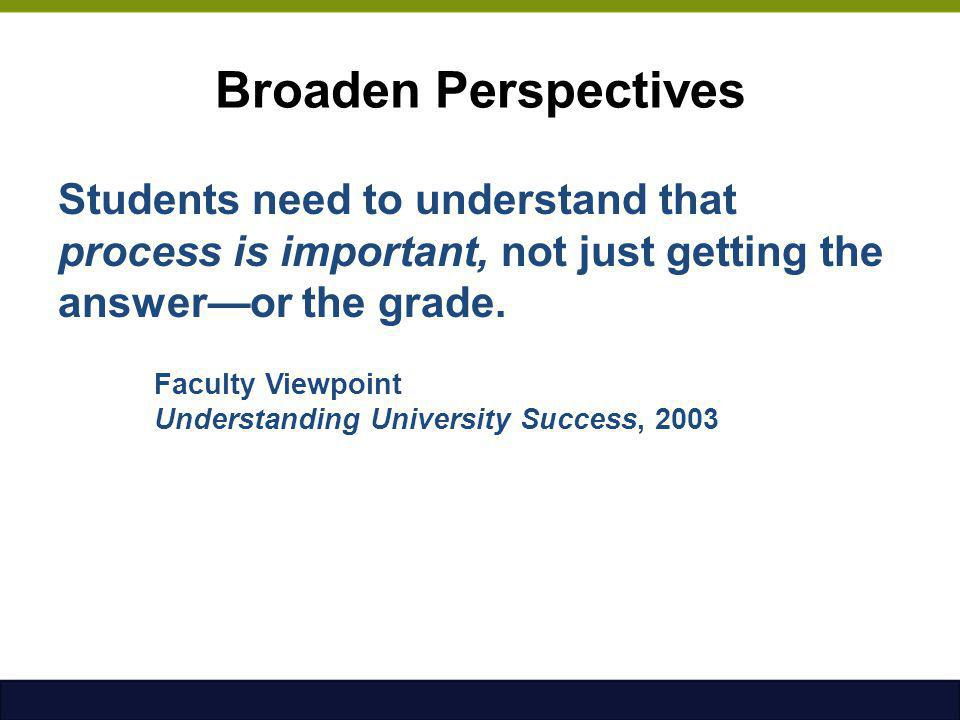 Broaden Perspectives Students need to understand that process is important, not just getting the answer—or the grade.