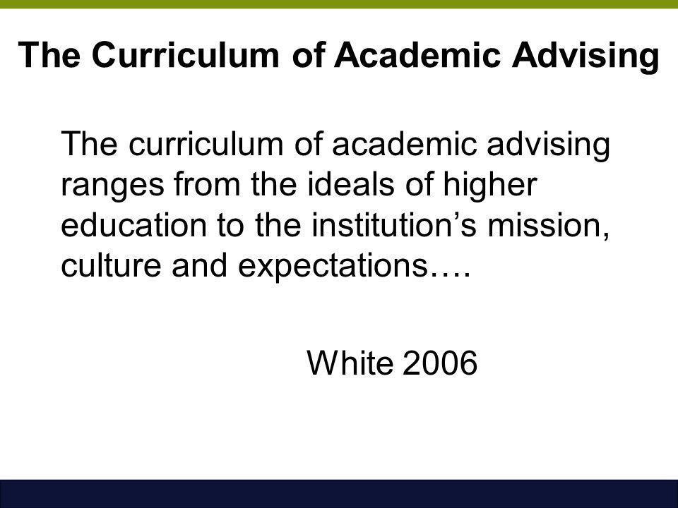 The Curriculum of Academic Advising