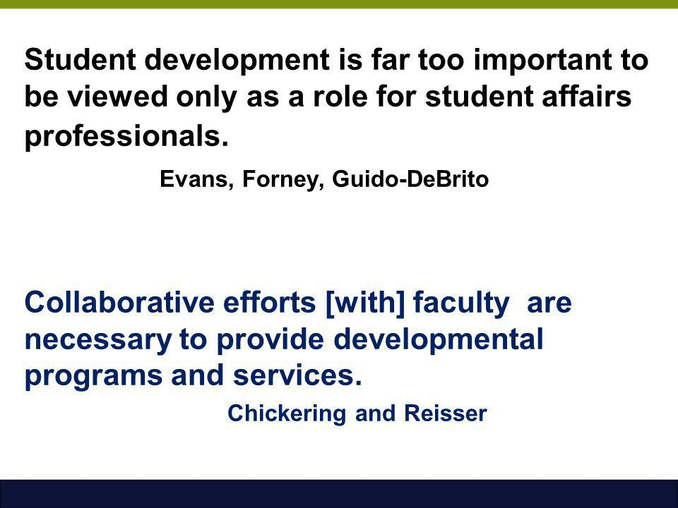 Student development is far too important to be viewed only as a role for student affairs professionals. Evans, Forney, Guido-DeBrito