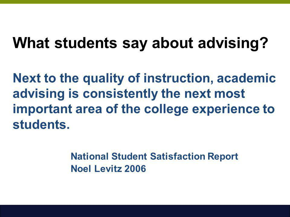 What students say about advising