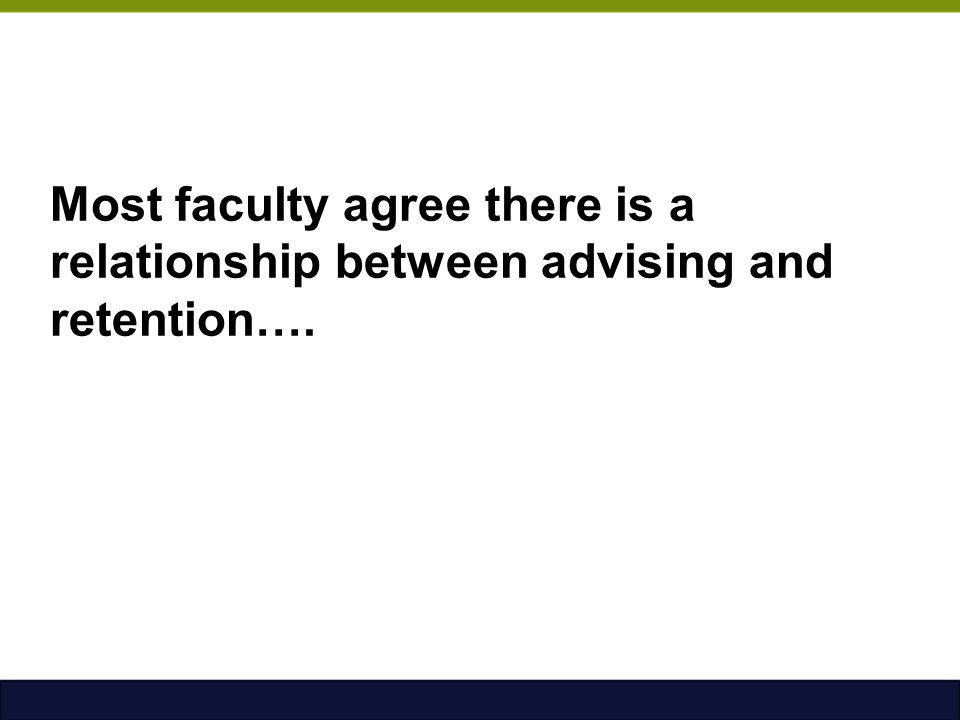 Most faculty agree there is a relationship between advising and retention….