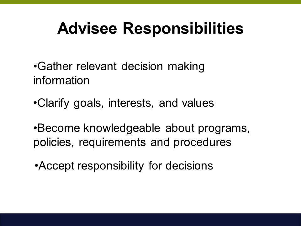 Advisee Responsibilities