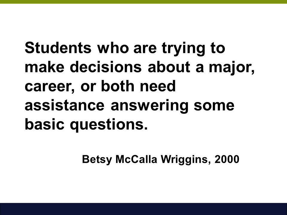 Students who are trying to make decisions about a major, career, or both need assistance answering some basic questions.