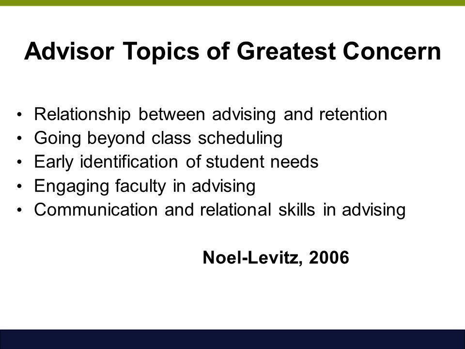 Advisor Topics of Greatest Concern