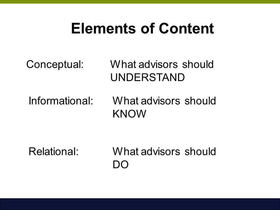 Elements of Content Conceptual: What advisors should UNDERSTAND