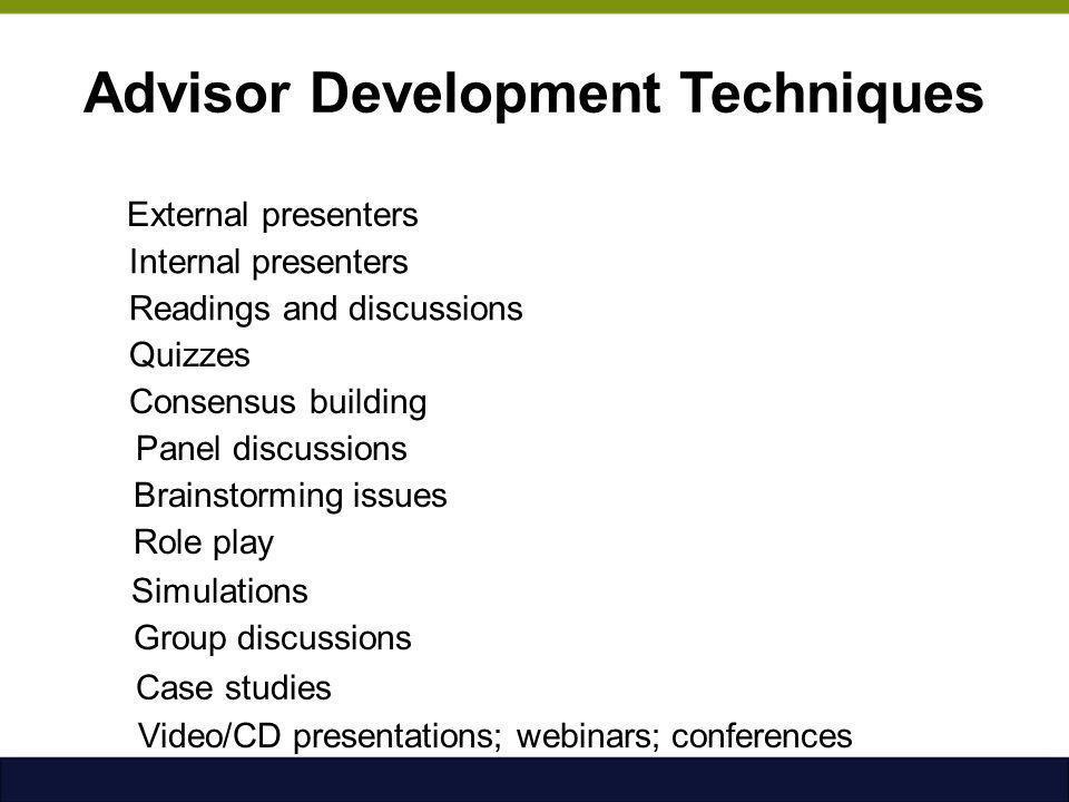 Advisor Development Techniques