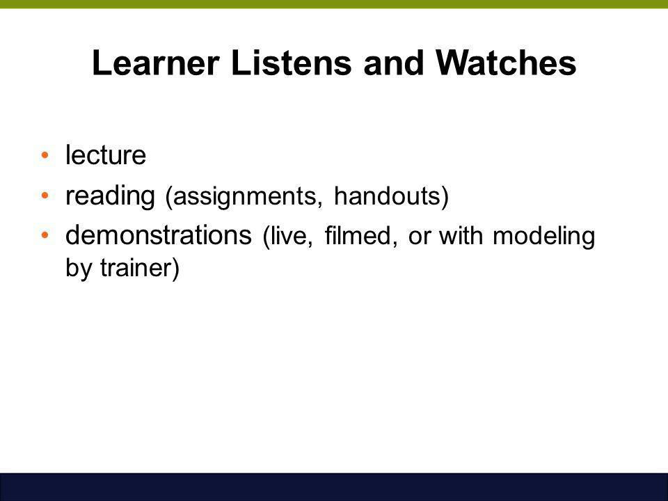 Learner Listens and Watches