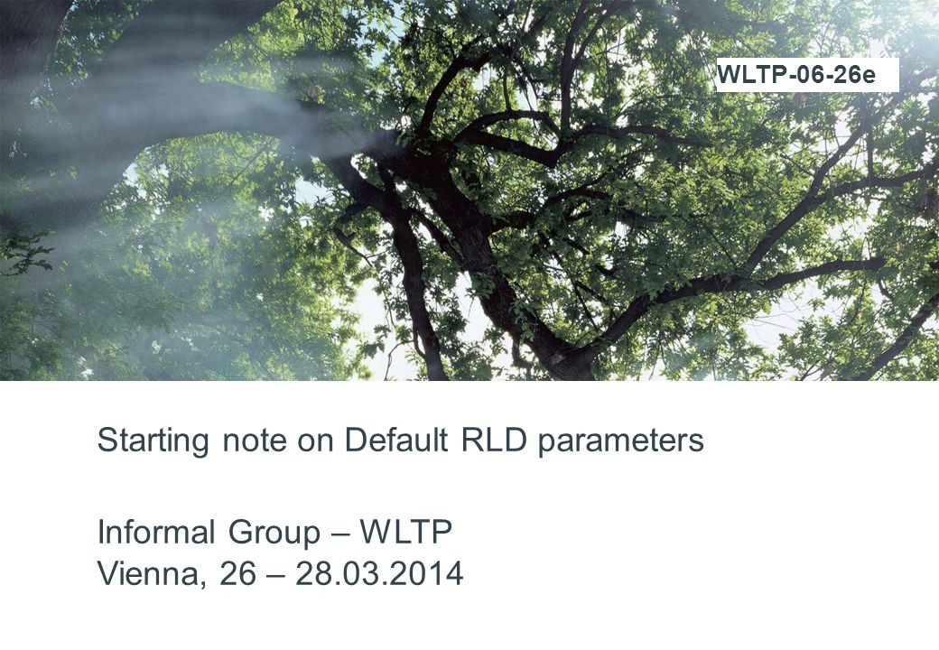 Starting note on Default RLD parameters