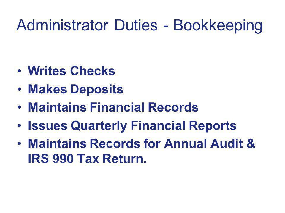 Administrator Duties - Bookkeeping