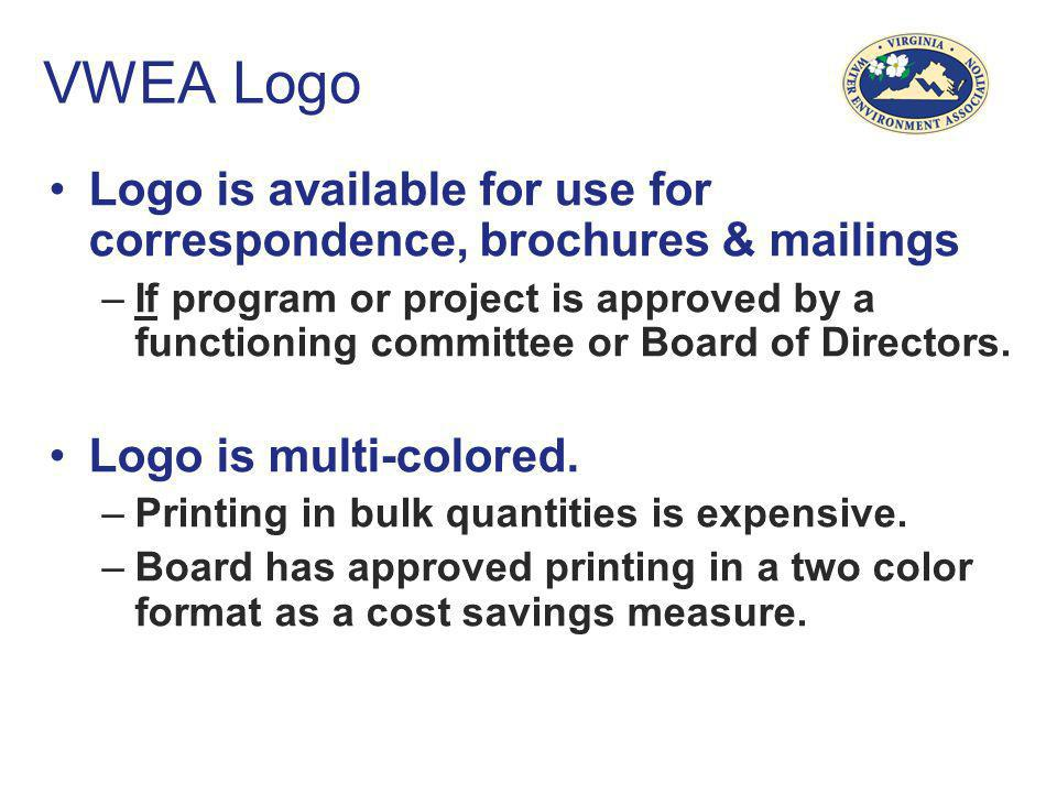 VWEA Logo Logo is available for use for correspondence, brochures & mailings.
