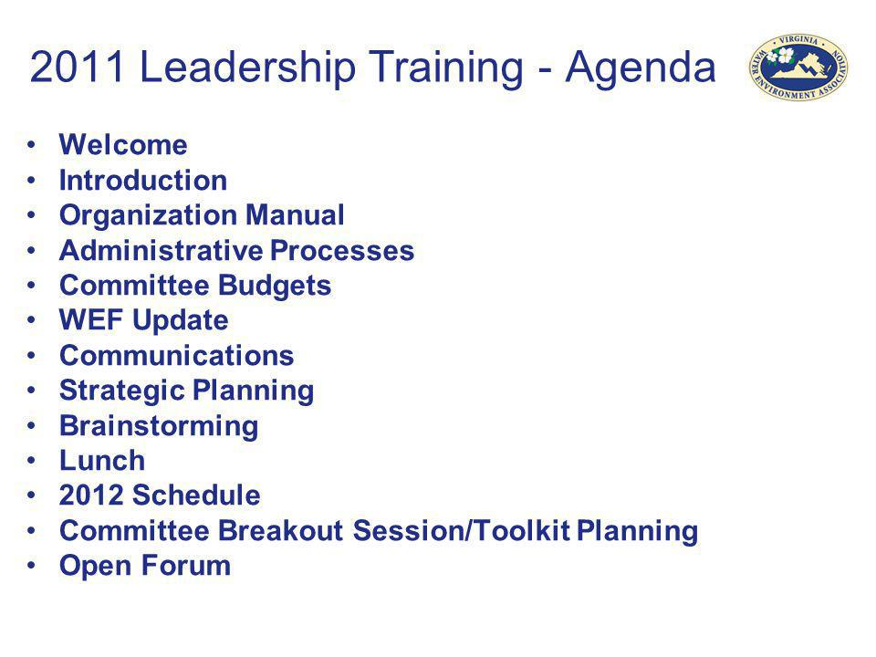 2011 Leadership Training - Agenda
