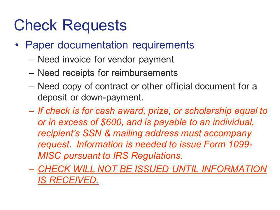 Check Requests Paper documentation requirements