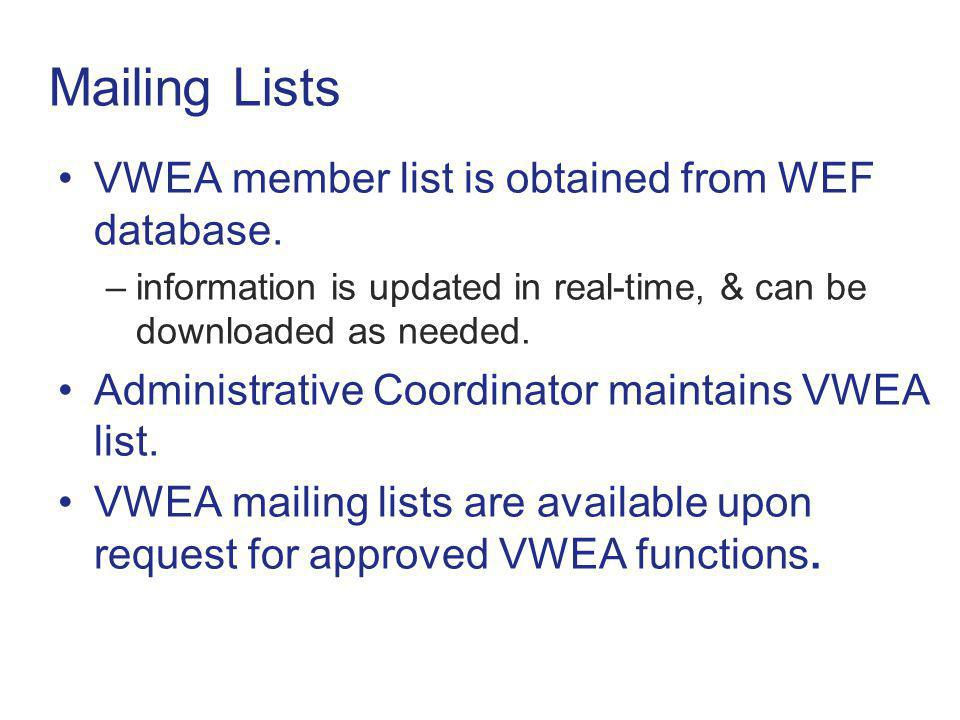 Mailing Lists VWEA member list is obtained from WEF database.
