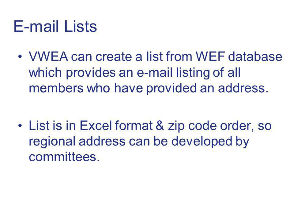 E-mail Lists VWEA can create a list from WEF database which provides an e-mail listing of all members who have provided an address.