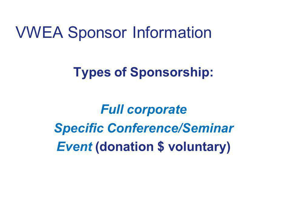 VWEA Sponsor Information