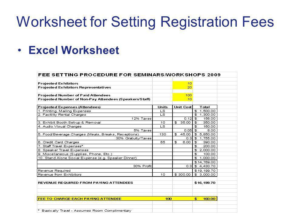 Worksheet for Setting Registration Fees