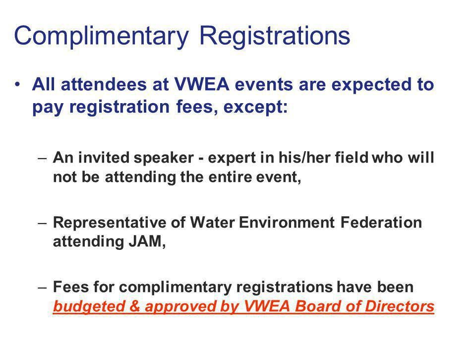 Complimentary Registrations