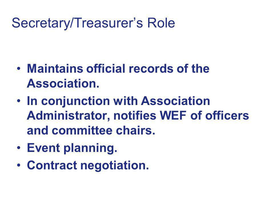 Secretary/Treasurer's Role