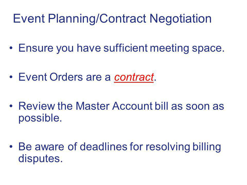 Event Planning/Contract Negotiation