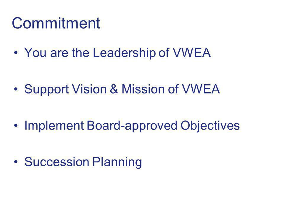 Commitment You are the Leadership of VWEA