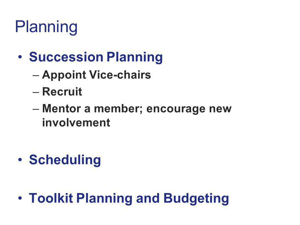 Planning Succession Planning Scheduling Toolkit Planning and Budgeting