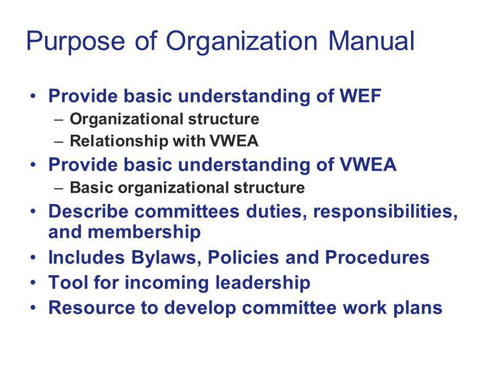 Purpose of Organization Manual