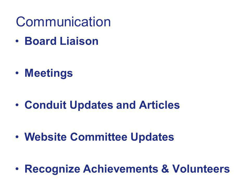 Communication Board Liaison Meetings Conduit Updates and Articles