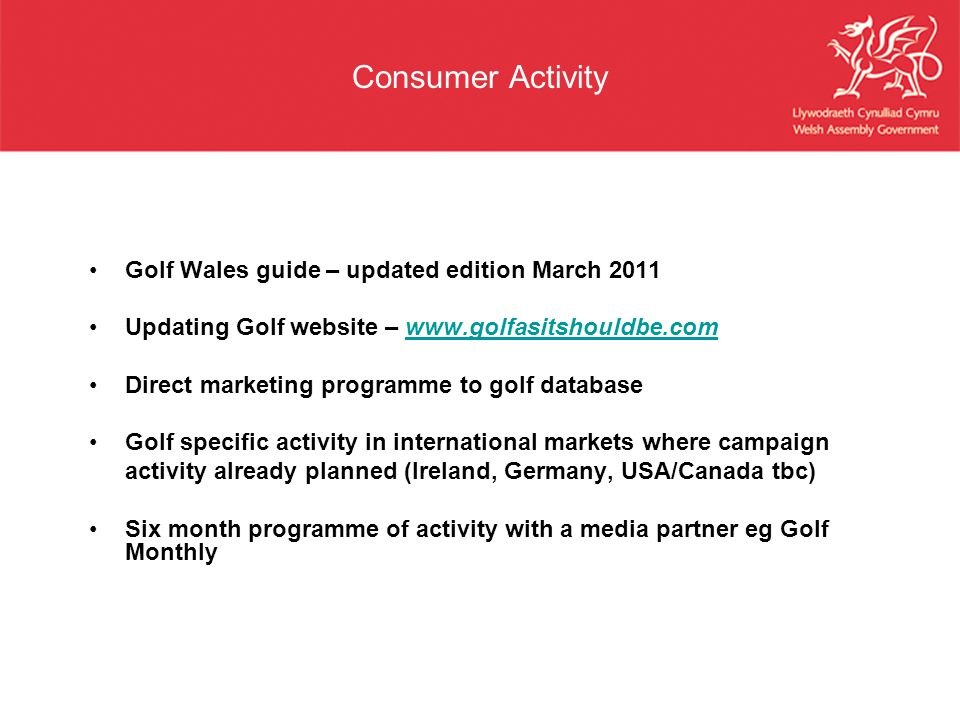 Consumer Activity Golf Wales guide – updated edition March 2011