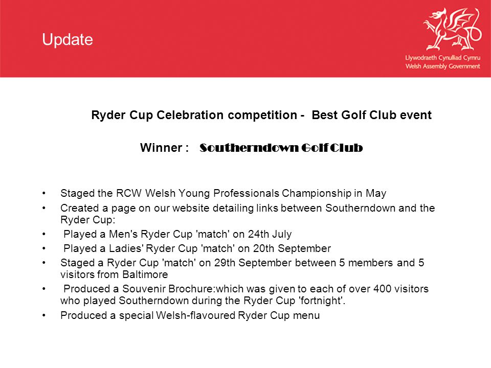Update Ryder Cup Celebration competition - Best Golf Club event