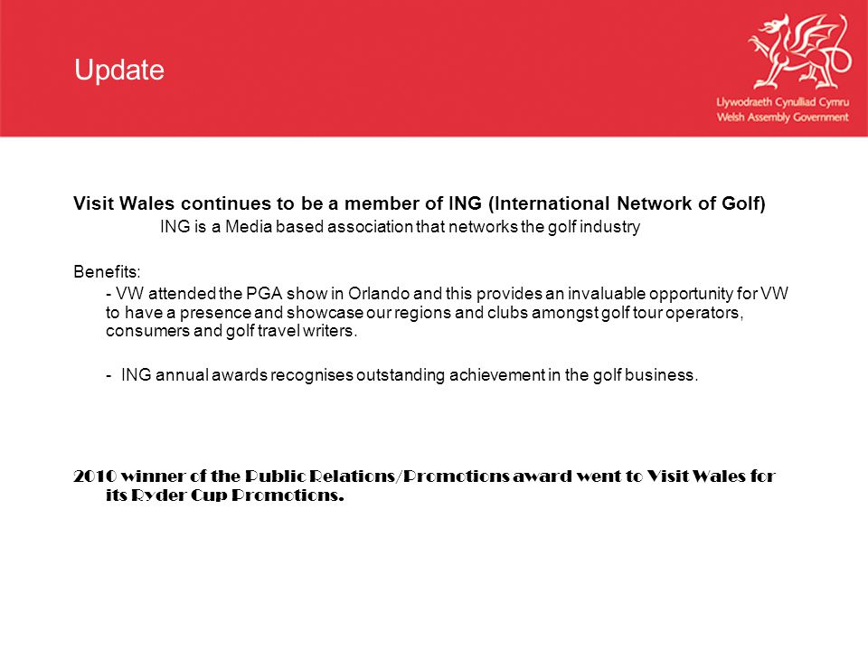 Update Visit Wales continues to be a member of ING (International Network of Golf) ING is a Media based association that networks the golf industry.