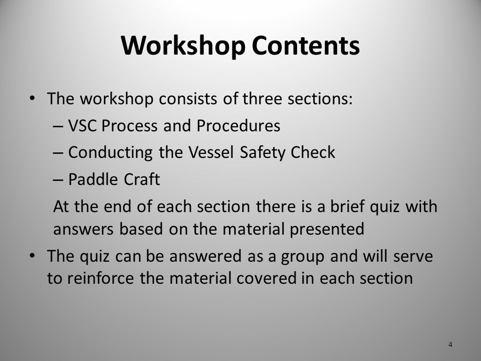 Workshop Contents The workshop consists of three sections: