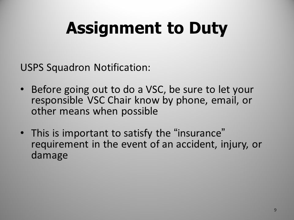 Assignment to Duty USPS Squadron Notification: