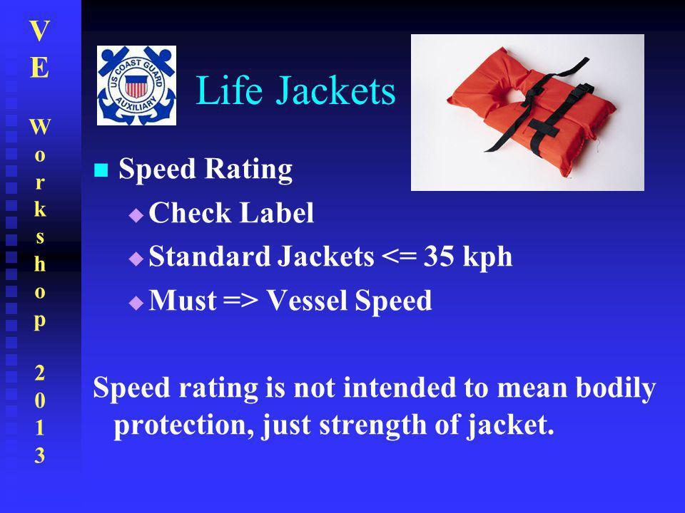 Life Jackets Speed Rating Check Label Standard Jackets <= 35 kph