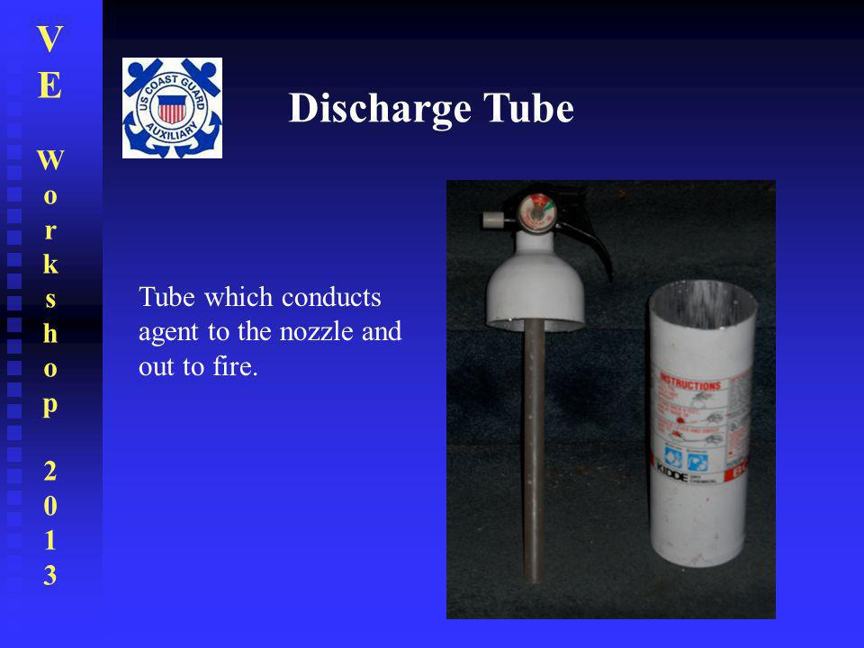 Discharge Tube Tube which conducts agent to the nozzle and out to fire.