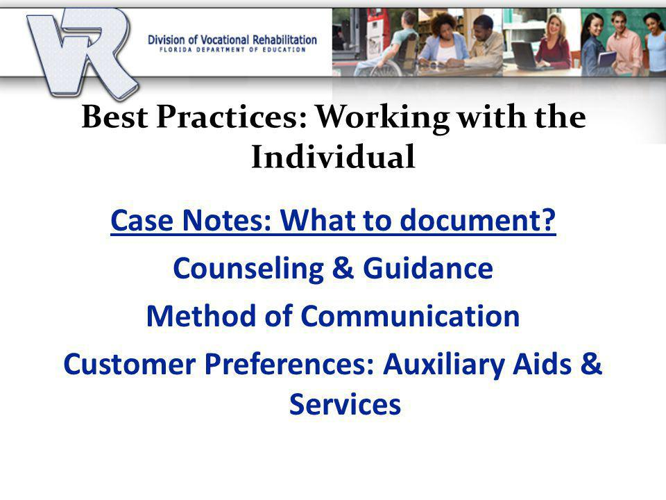 Best Practices: Working with the Individual