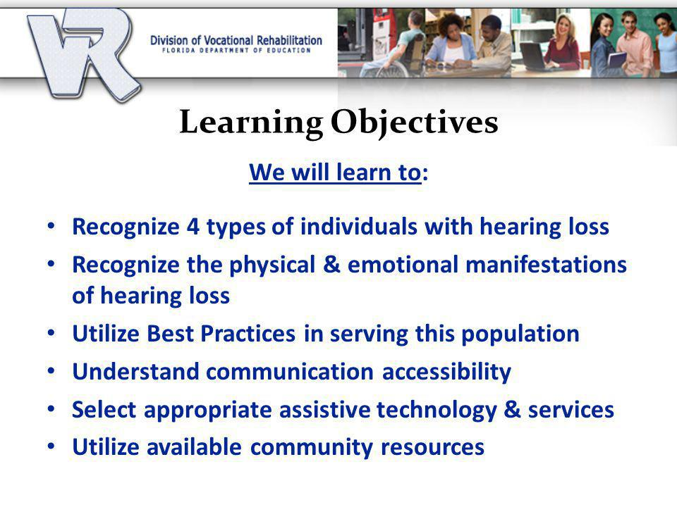 Learning Objectives We will learn to: