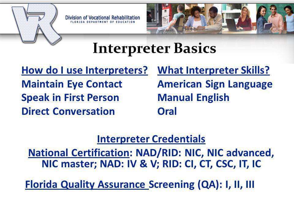 Interpreter Credentials