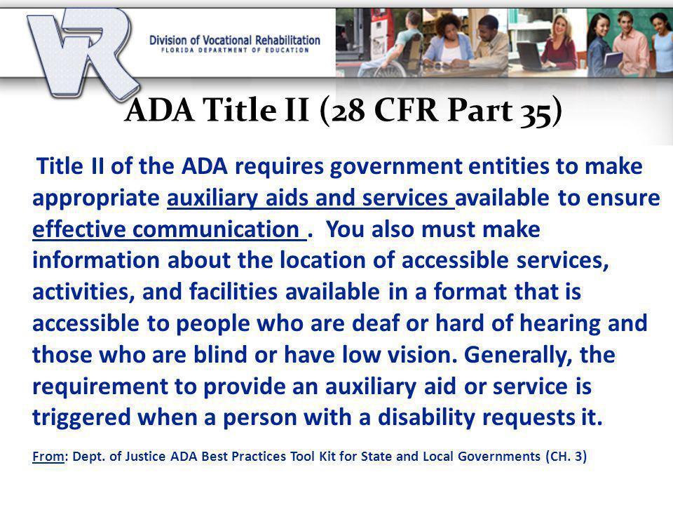 ADA Title II (28 CFR Part 35)