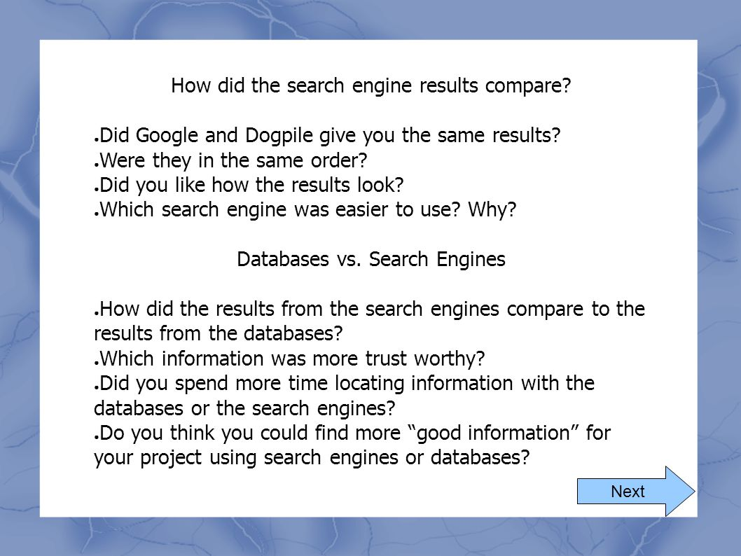 How did the search engine results compare