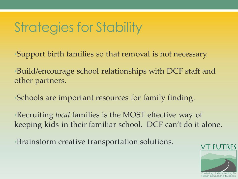 Strategies for Stability