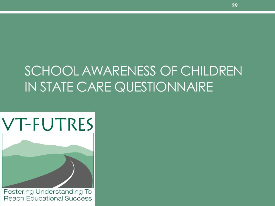 SCHOOL AWARENESS OF CHILDREN IN STATE CARE QUESTIONNAIRE