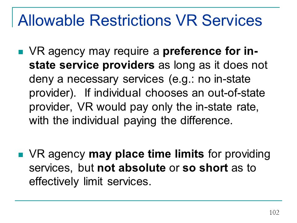 Allowable Restrictions VR Services