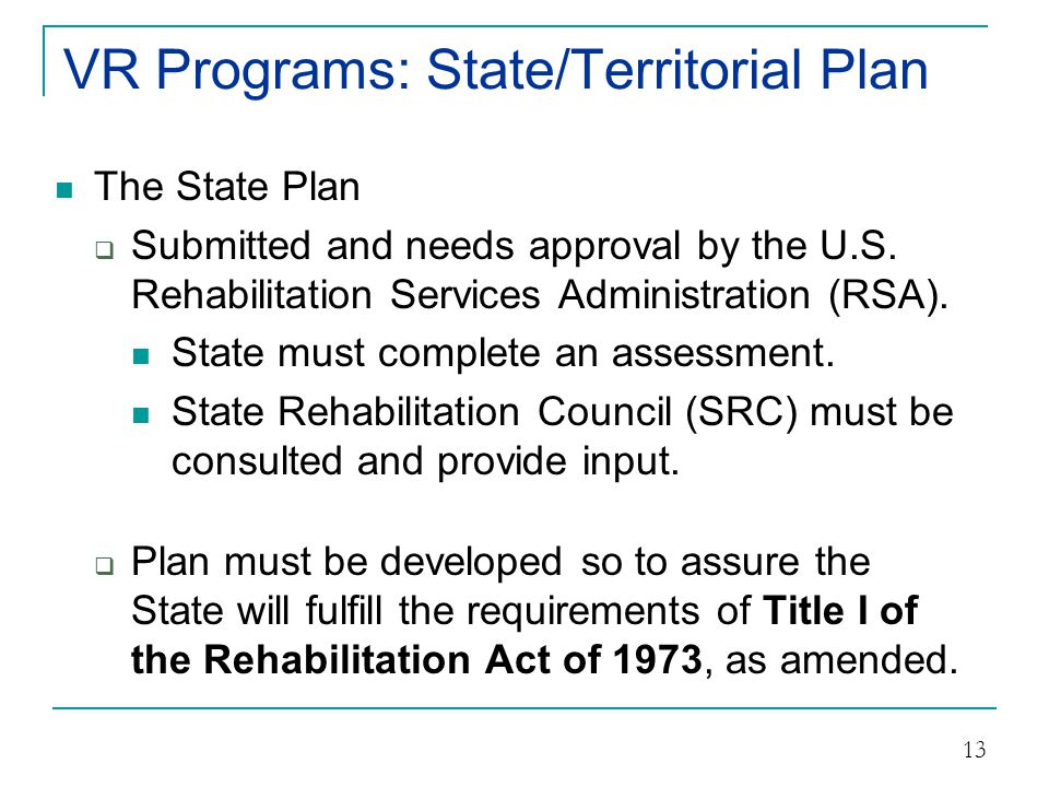 VR Programs: State/Territorial Plan