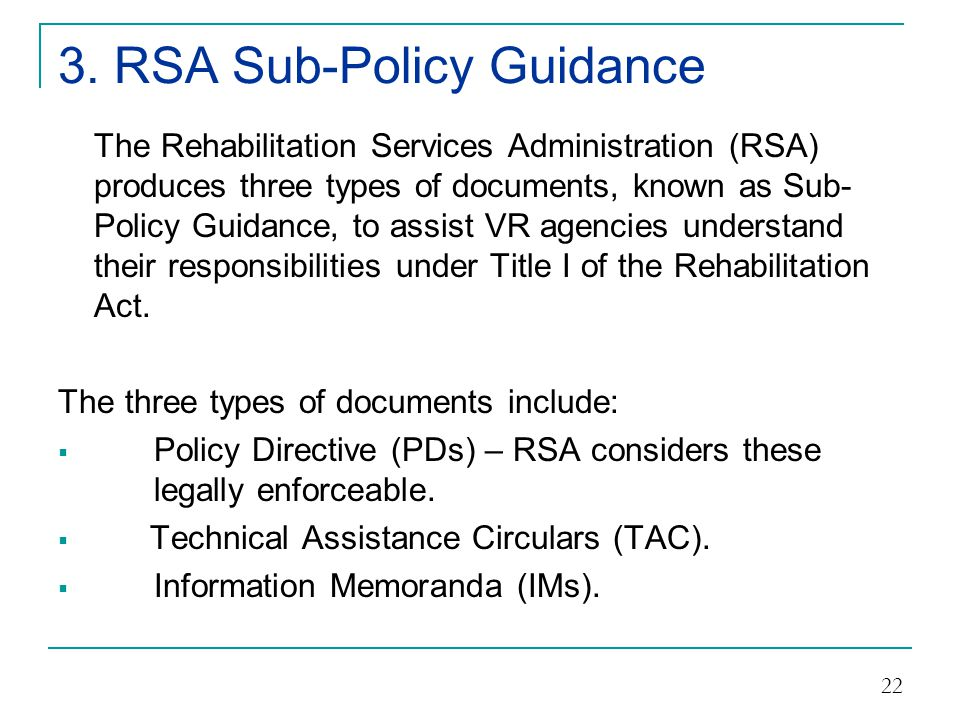 3. RSA Sub-Policy Guidance