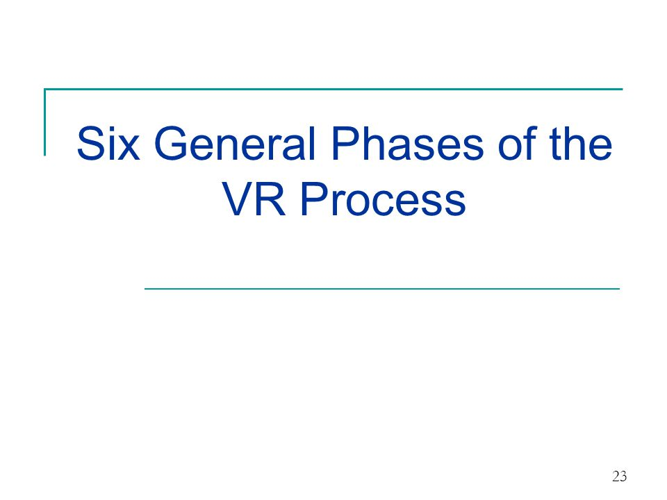 Six General Phases of the VR Process