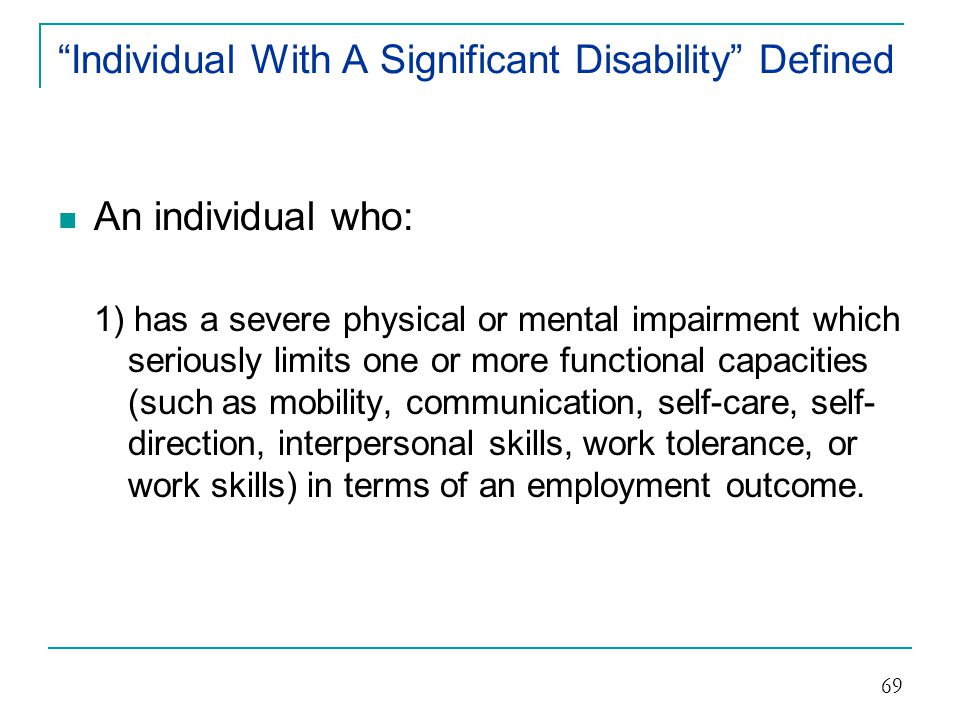 Individual With A Significant Disability Defined
