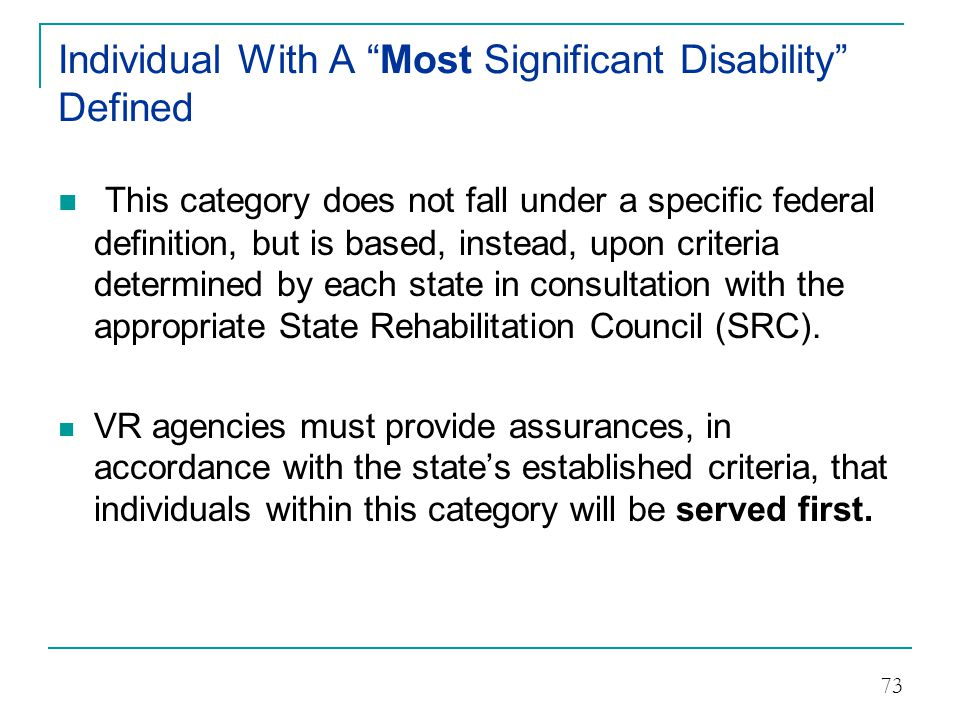 Individual With A Most Significant Disability Defined